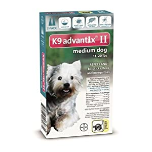 Advantix II Topical Prevention and Treatment of Ticks and Fleas for Medium Dogs 11 – 20 Lbs 2 Month
