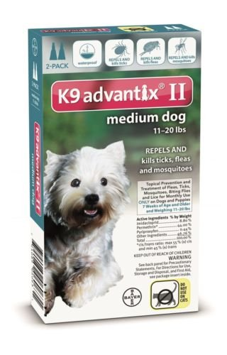 Advantix II Topical Prevention and Treatment of Ticks and Fleas for Medium Dogs 11 - 20 Lbs 2 Month