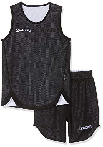 Spalding Doubleface Kids Set, Conjunto reversible camiseta y pantalones de baloncesto para Unisex-Niños, Negro/Blanco (Black/White), S(36)