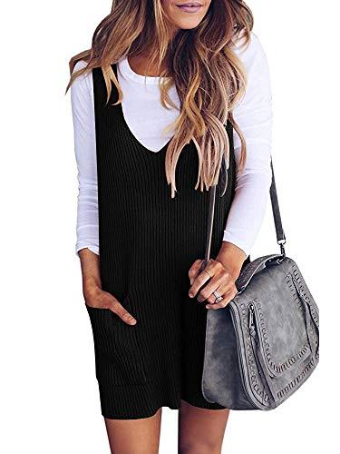 Ybenlover Damen Latzrock Strick V Ausschnitt Trägerkleid Retro Kleider Mit Taschen (L, Schwarz)