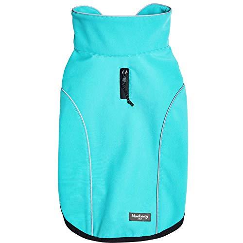Blueberry Pet Windproof Waterproof Reflective Softshell Dog Jacket, Cyan Blue, Back Length...