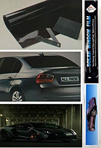 SHINE D.Black Tönungsfolie für Autos, Lieferwagen, Limo, reduziert Sonnenblendung, universelle Passform, 3 m x 50 cm, D.schwarz, Schwarz