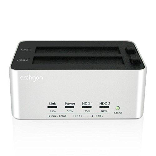 Archgon® MH-3623-U3 USB 3.0-2.5 inch und 3.5 inch SATA Festplatten Dual-Bay Docking Station mit Aluminum Gehäuse mit Off-line Clone- und Erase-Funktion, unterstützt bis zu 8TB