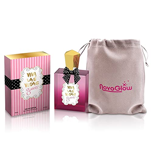 Viva Las Vegas Sweet - Eau de Parfum Spray Perfume, Fragrance For Women - Daywear, Casual Daily Cologne Set with Deluxe Suede Pouch- 3.4 Oz Bottle- Ideal EDP Beauty Gift for Birthday, Anniversary