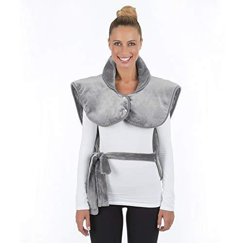 VITALmaxx Rücken- & Schulterheizdecke | Wohlige Wärme für Schultern und den gesamten Rücken | Optimaler Sitz | Mikrofaser max. 100W [grau]