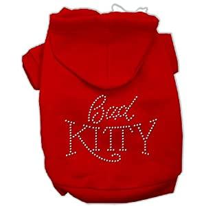 Mirage Pet Products 18-Inch Bad Kitty Rhinestud Hoodie, XX-Large, Red
