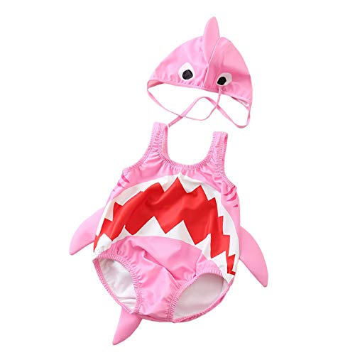 Kid Baby Boys Girls One Piece Shark Swimsuit with Caps (Pink, 2-3 Years/Tag:XXL)