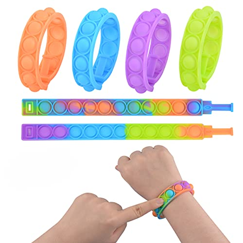 Push Pop Bubble Wristband Fidget Toys, Set of 6 Wearable Autism Special Needs Stress Reliever ,Hand Finger Press Silicone Bracelet Toy for Kids and Adults (Multicolor-6)
