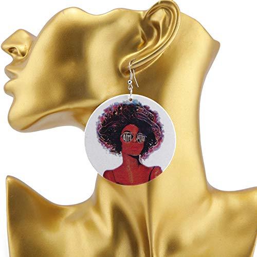 Erin Earring Vidrieras Pendientes De Madera para Mujer Joyería Natural Bohemia De Cabello Afro Mujeres 1 Par