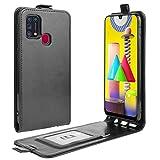HualuBro Samsung Galaxy M31 Hülle, Premium PU Leder Brieftasche Schutzhülle HandyHülle [Magnetic Closure] Handytasche Flip Hülle Cover für Samsung Galaxy M31 Tasche (Schwarz)