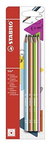 Dreikant-Schulbleistift - STABILO Trio Bleistift in 6 Farben - 6er Pack - Härtegrad HB