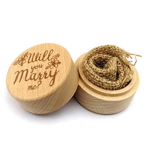 BLEUNUIT Ringbox, gepersonaliseerde gravure rustieke bruiloft houten ring box sieraden bewaardoos houder Custom Willst du Mich trouwe ringdrager