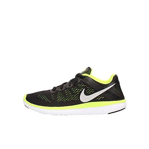 Nike Flex 2016 RN (GS) - Chaussures de Running, Garçon, Couleur Noir (Black/Metallic Silver-Volt-White), Taille 36