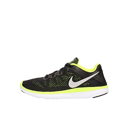 Nike Flex 2016 RN (GS), Scarpe da Corsa Unisex-Kids, Nero/Giallo Fluo, 38.5 EU