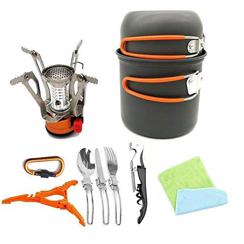 ZEFENG Mochila de Senderismo Urganización de Utensilios de Cocina Suministros Picnic Pot Potable Pot Pot Camping Kit Viajando Trekking and Camping (Color : Orange)