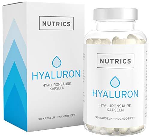Nutrics | Hyaluronsäure + Kollagen | 90 Kapseln Hochdosiert | 300 + 300mg | Made in Germany