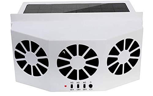 MASO Solar Powered 3 Fan Car Exhaust Fan,Car Radiator Fan, Energy Saving Air Vent Radiator Air Purifiers 2W ABS(White)