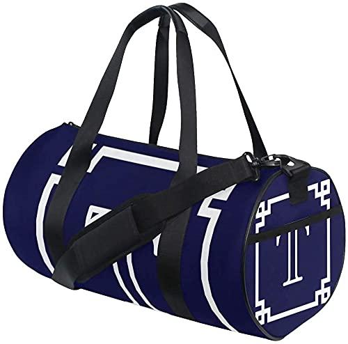 Gym Duffel Bag Monogram Initial Training Duffle Bag Bolsas Deportivas de Viaje Redondas para Hombres y Mujeres