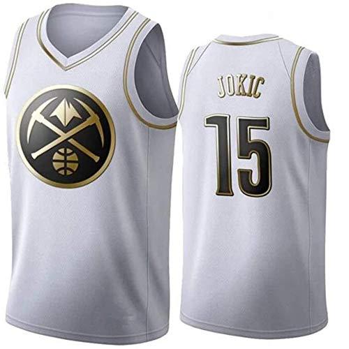XIAOHAI NBA Basketball Jersey Denver Nuggets # 15 Nikola Jokic Transpirable Resistente al Desgaste Baloncesto Baloncesto Swingman Jerseys Sports T-Shirts Jerseys,Blanco,XL
