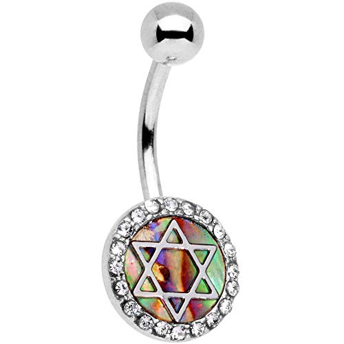 "Body Candy 14G 7/16"" 316L Stainless Steel Navel Ring Piercing Clear Accent Star of David Belly Button Ring"