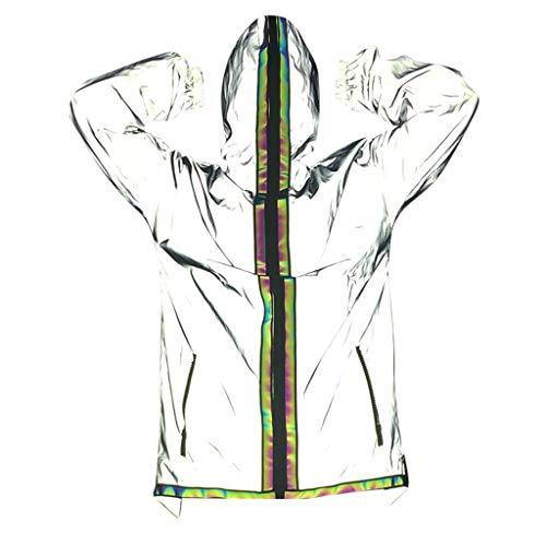 MAYOGO Reflektierende Jacke Herren/Damen Pärchen Jacken Reflektor Jacke Gray Harajuku Windbreaker Winterjacken Hooded Reflective Streetwear Coat mit Kapuze (Grau, M/EU:36)