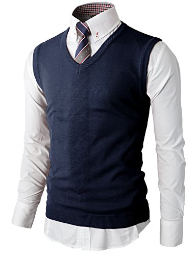 H2H Men's Wool Cardigan Sweater Vest Navy US S/Asia M (KMOV050)