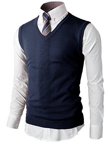 H2H Men's Wool Cardigan Sweater Vest Navy US S/Asia M (KMOV050)