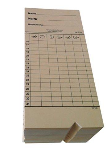 Stempelkarte für QuickClocks QC200 / QC400 / QC500 Stempeluhr (500)