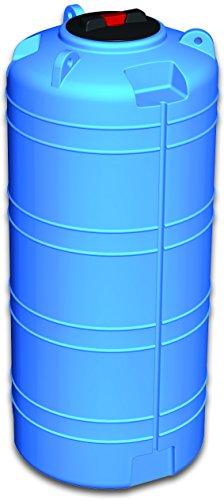Serbatoio polietilene 5 mm tipo verticale RINFORZATO - FORI STAMPATI e FILETTATI acqua potabile alimenti (1000 litri) blu cisterna