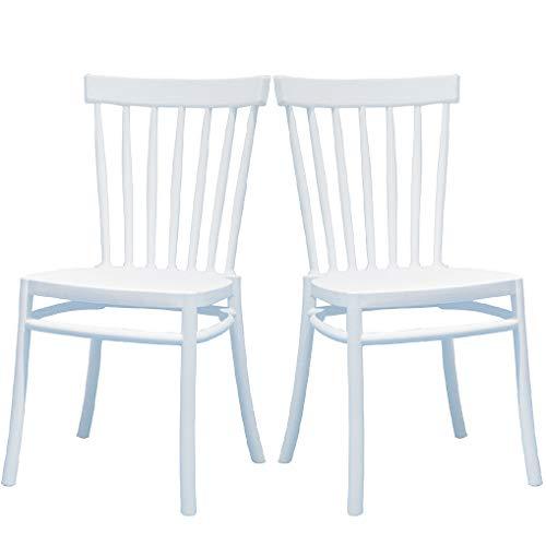 2 Sillas Windsor Color Blanco, Sillas de Comedor plástico. Incluye 2 sillas. Elegantes para Cocina o Comedor, apilables y Muy Resistentes.
