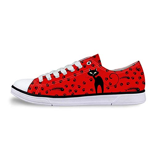 Cat Print Women Canvas Shoes Girls School Wear Lace Up Pumps Casual Plimsolls red+cat Print UK 4
