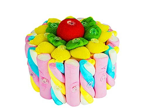 Tarta de chuches y golosinas 16 cm - Regalo original para novia, cumpleaños, bodas y comuniones. Tarta de chuches de frutas y nubes.