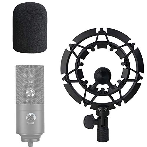 Shock Mount with Pop Filter for FIFINE K669B USB Podcast Microphone, k669 Shock Mount Reduces Vibration Noise Matching Mic Stand Boom Arm by SUNMON