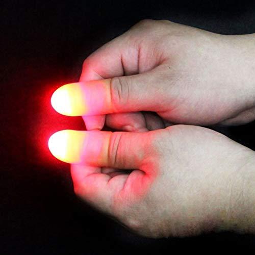 Delleu 2 Piezas de Magia Ligeros Dedos para Arriba Que Destella Dedos Pulgar Consejos de Magic Fingers Truco Que aparecen Luz