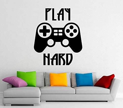 Ajcwhml Gamepad Wall Decal Quotes Play Hard Vinyl Wall Stickers Living room Kids Playroom Wall Decor Play Game Art Mural Removable 88X75CM