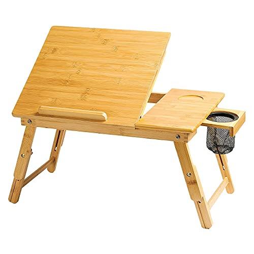 CHUN LING Escritorio de laps, se Adapta a un Escritorio para Laptop de hasta 15.6 Pulgadas, Mesa de Desayuno Plegable, con 5 ángulos Top Top, Altura, Soporte de Laptop Ajustable de Altura