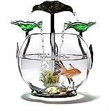 Fuente de cerámica Fuente de mesa Transparente Lotus hoja Cascada Tanque de pescado, Tablero de interior Fuente interior Pequeño acuario Oficina Decoración de la oficina Cascada Fuente de la cascada