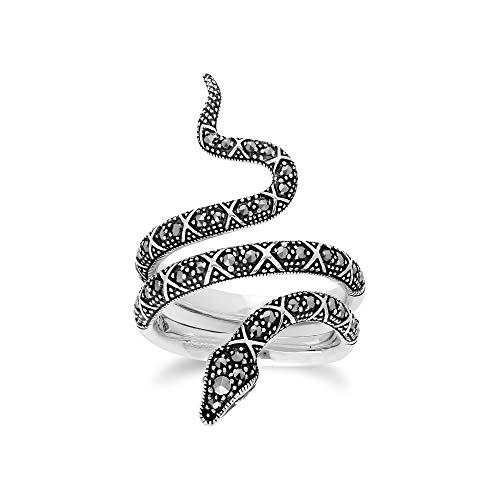 Gemondo anello di marcasite, argento Sterling 0.50, marcasite Art Nouveau serpente anello, Argento, 57 (18.1), colore: 0, cod. 214R580201925__P