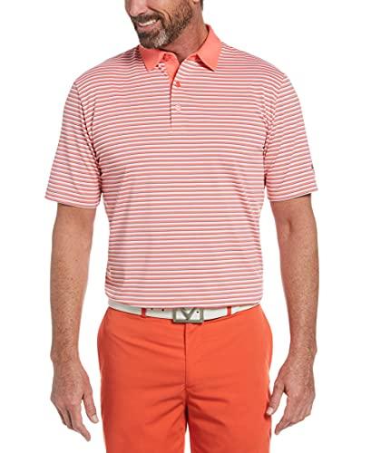 Callaway 3-Color Stripe Short Sleeve Golf Polo Shirt, Dubarry, XX Large
