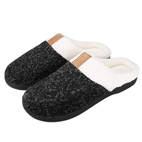 Puricon Zapatillas de Estar por Casa de Mujer, Pantuflas de Vellón Suave con Suela Antideslizante de Espuma con Memoria, Zapatillas de Peludo para Otoño Invierno -Negro