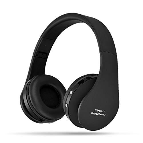 Kuizhiren1 kabellose Bluetooth-Headsets für Kopfhörer, Drahtlose Stereo-Bluetooth-Kopfhörer Faltbarer Sportkopfhörer Schwarz