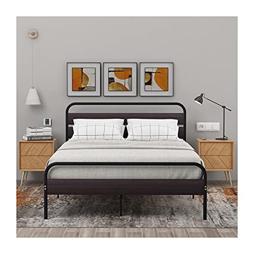 Metallsäng, enkelsängstomme i metall med stort förvaringsutrymme, Sängstomme med sänggavel och fotgavel i trä för vuxna, barn, enkel 140 x 200 cm