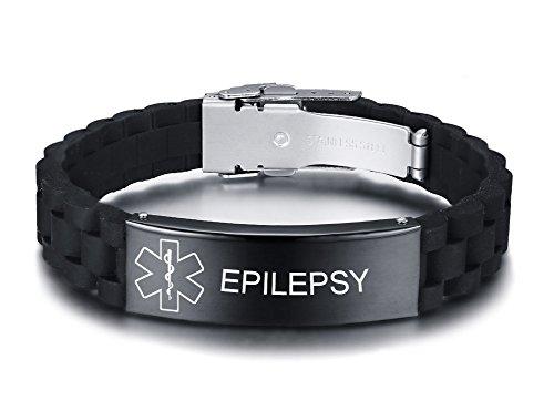 VNOX Personnalisé Alerte Médicale Personnalisé Acier Inoxydable Balise D'identification en Caoutchouc Noir Silicone Bracelet Réglable pour Hommes,Epilepsy