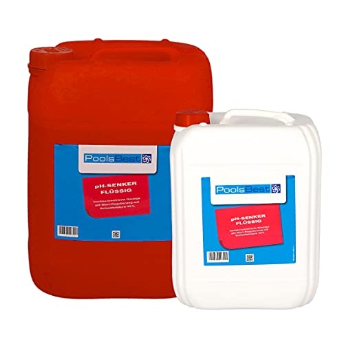 POOLSBEST® 22 kg pH-Senker flüssig für Pools - pH Minus zur optimalen pH-Wert Regulierung