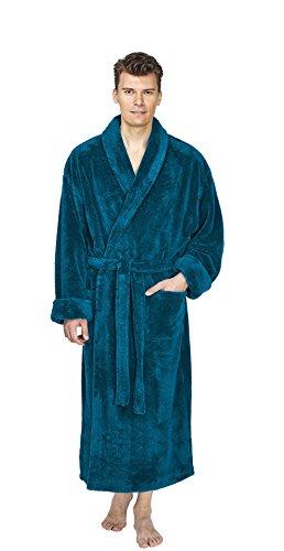 Arus badjas voor heren, met sjaalkraag, extra lang, ochtendjas, saunamantel, 1A kwaliteitsproduct, wijd gesneden, super pluizige, volumineuze stof van 100% microvezel, petrol, XXL