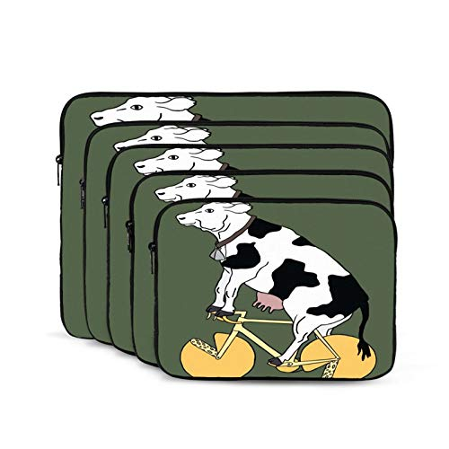 Computer Bag Liner Carrying Case Water-Repellent Fabric Business Casual or SchoolFunny Cow On Cheese Bike-15 inch