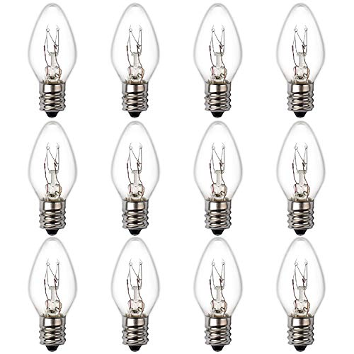 15 Watt Himalayan Salt Lamp Bulb, 12Pack Dimmable Night Light Bulb with E12 Candelabra Base, C7 Salt Rock Lamp Bulb for Himalayan Salt Lamps & Baskets, Chandeliers, Scentsy & Wax Warmers, Night Lights