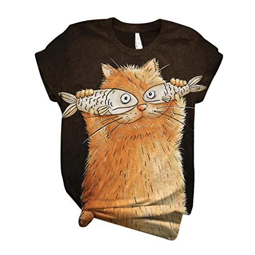 Magliette Tumblr Ragazza Simpatico Gatto E Pesce Grasso Moda Stampa T Shirt Casuale Felpe Donna Tumblr Estate Maglietta Manica Corta O-Collo Camicetta Elegante Bluse