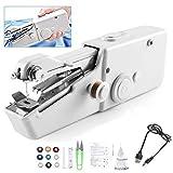 Handheld Mini Sewing Machine, Cordless Portable Handy Stitch Machine for Beginner (White, Travel Size)