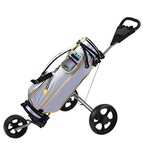 Golf Push Cart - 3 Wheel Golf Push Pull Cart - Foldable 360° Swivel Cup Holder Trolley - Folding Golf Pull Cart for Golf Bag - Lightweight Golf Accessories for Men Women Kids Practice (3 Wheel)
